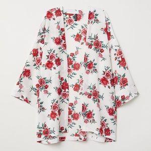 NWOT H&M White Red Roses Woven Short Kimono
